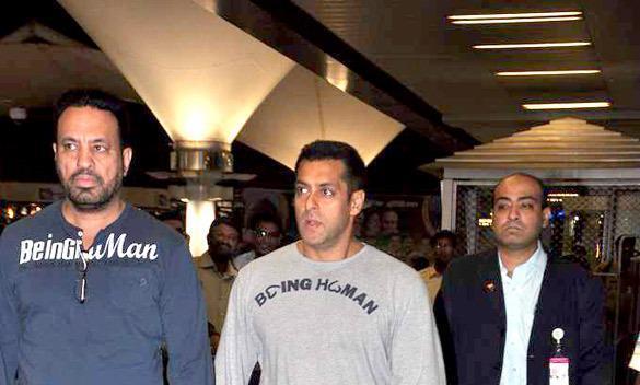 Salman With Bodyguard Shera At Mumbai Airport After Return From Dubai
