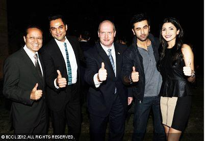 Vineet,Abhay,Michael,Ranbir And Anushka Thums Up Photo Clicked At  The Launch Of British Columbia's Operations At The Canadian Consul