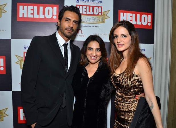 Arjuna  And Suzanne With A Friend Posed For Camera At Hello! Magazine Event