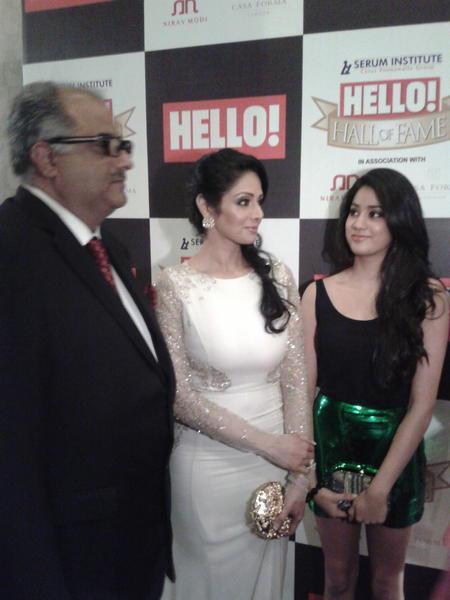 Boney Present With His Wife Sridevi And Daughter Jhanvi At  Hello! Magazine Event