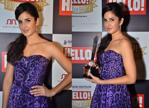 Katrina Kaif With Trophy Posed For Camera At Hello! Magazine Event