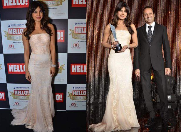 Priyanka Smiling Pose With Trophy At Hello! Magazine Event