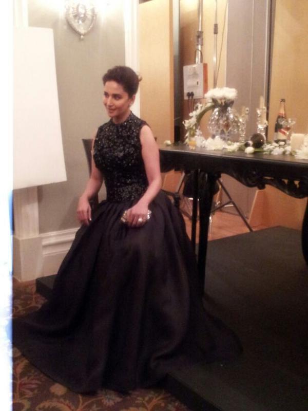Madhuri Elegant Look In A Black Dress At  Hello! Magazine Event