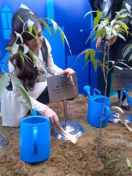 Dia Mirza Plantation Photo Clicked At The PanasonicIndia Technopark Launch