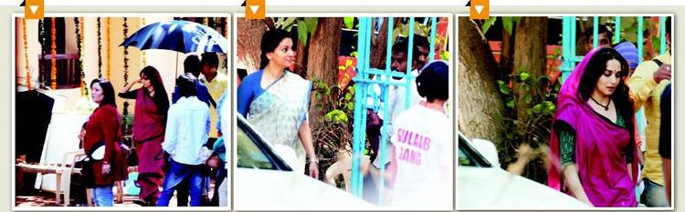 Juhi Chawla And Madhuri Dixit On The Sets Of Gulaab Gang Movie
