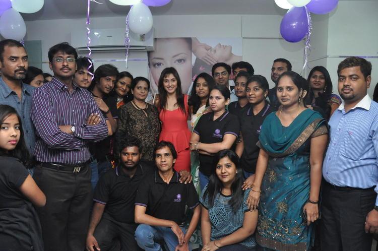 Manjari With The Members Photo Clicked At Naturals Salon At Vijayawada