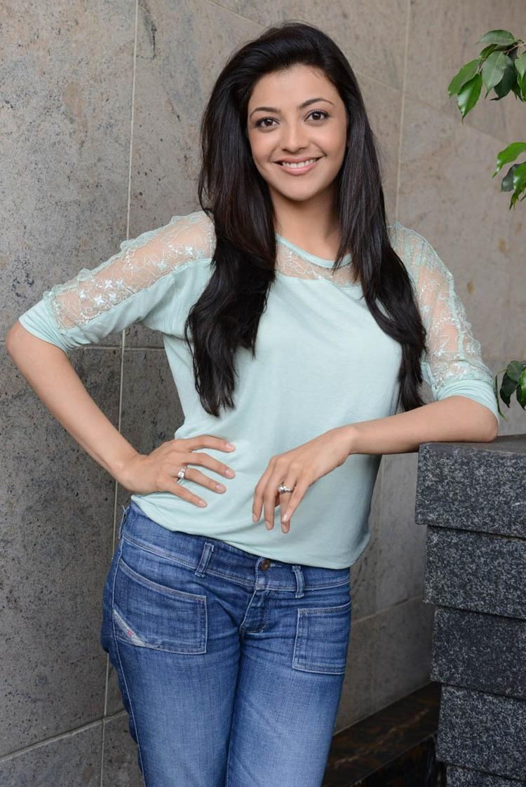 Kajal Agarwal Nice Look With Cute Smiling Still