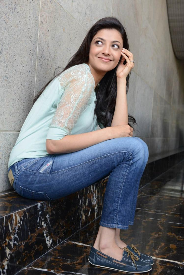 Kajal Agarwal Superb Look Photo Shoot In Jeans With Sky Top