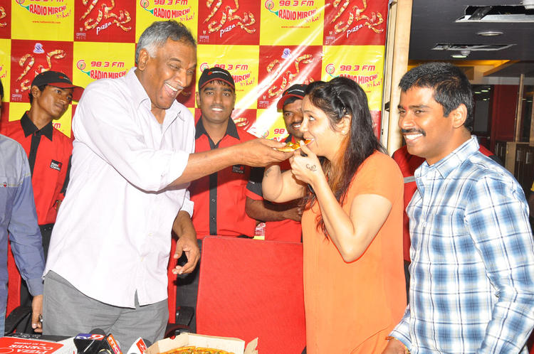 Tammareddy And Suresh Smiling Still At Radio Mirchi Office For Pizza Movie Audio Launch