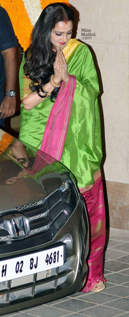 Rekha Spotted In A Green Saree At Vidya Balan Mehendi Ceremony