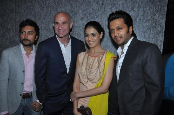 Riteish With Wife Genelia And Andre At Dinner Party In Honour Of Andre Agassi