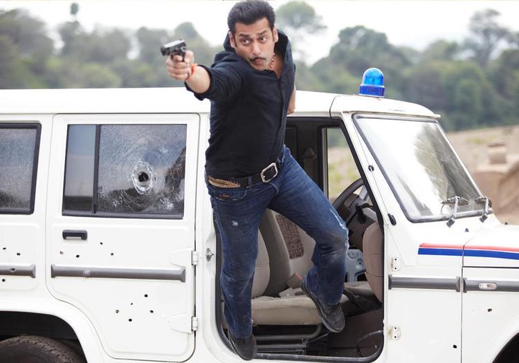 Salman Khan Flying Photo Still From Movie Dabangg 2