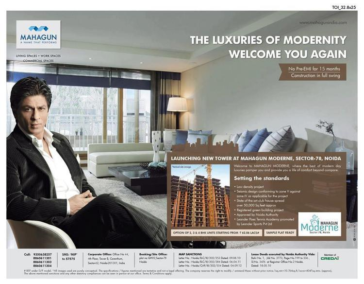 Shahrukh Dashing Look Ad For Real Estate Company Mahagun