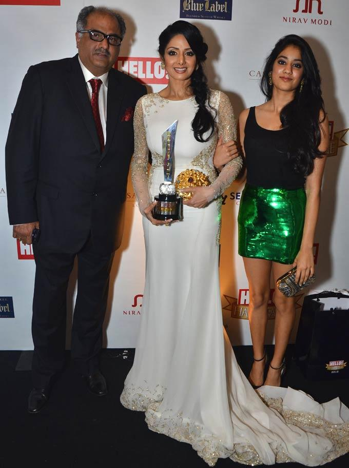 Boney ,Sridevi And Janhavi Spotted At Hello Hall Of Fame Awards 2012