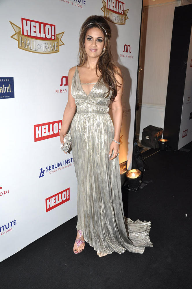 Natasha Poonawalla Snapped In A Silver Gown At Hello Hall Of Fame Awards 2012