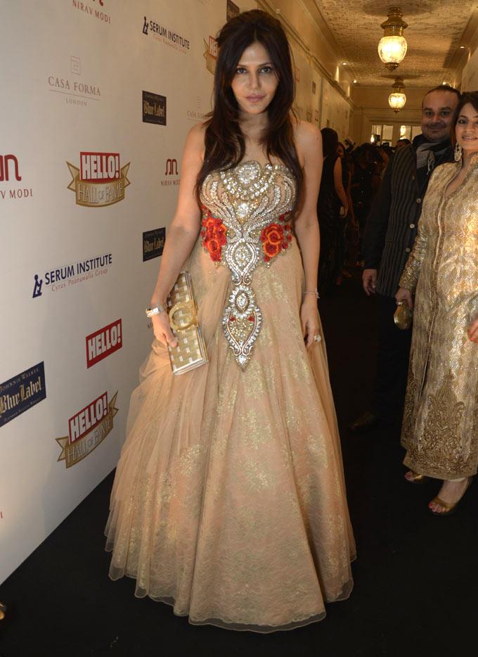 Nisha Jamvwal In A Pink Pretty Designer Dress At Hello Hall Of Fame Awards 2012
