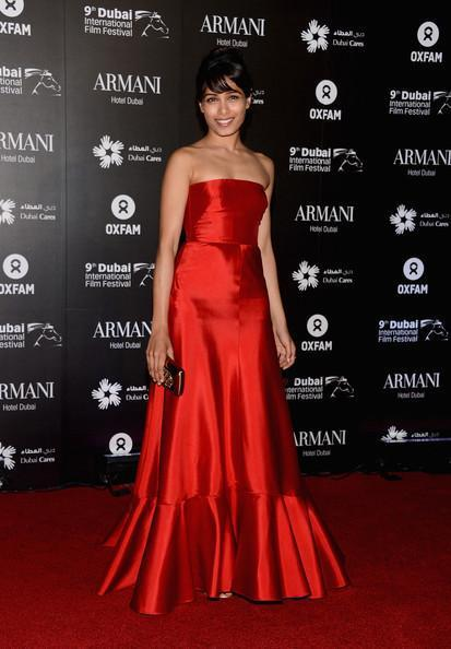 Freida Looked Gorgeous In A Red Gown At A Charity Gala At The Dubai International Film