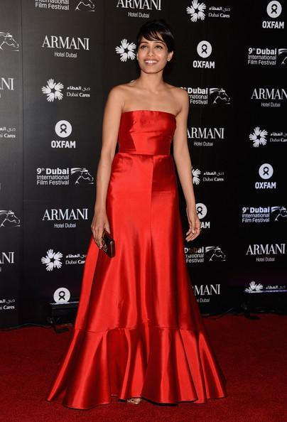 Freida Looked Ravishing In A Red Ensemble At A Charity Gala At The Dubai International Film
