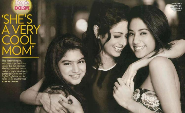 Sridevi With Daughters Jhanvi And Khushi Cute Smiling Still Photo On People Magazine