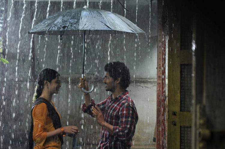 Sudhakar And Rashmi In Rain Photo From Movie Life Is Beautiful