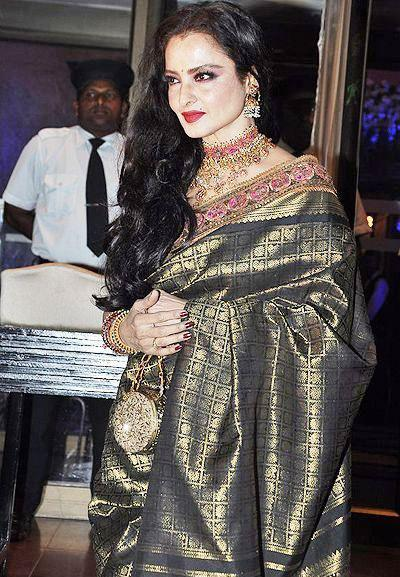 Rekha At Abhinav And Ashima Shukla Wedding Reception