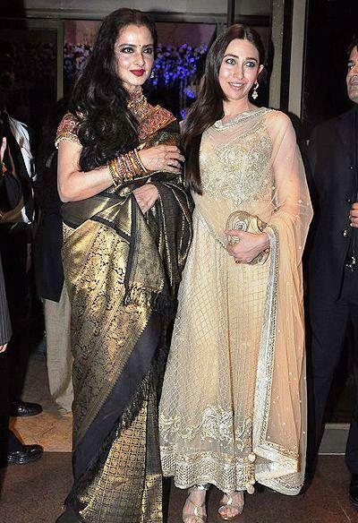 Rekha And Karisma Posed At Abhinav And Ashima Shukla Wedding Reception