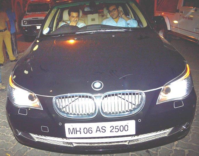 Arbaaz Khan And Sanjay Kapoor In A Car At Dabangg 2 Screening Event