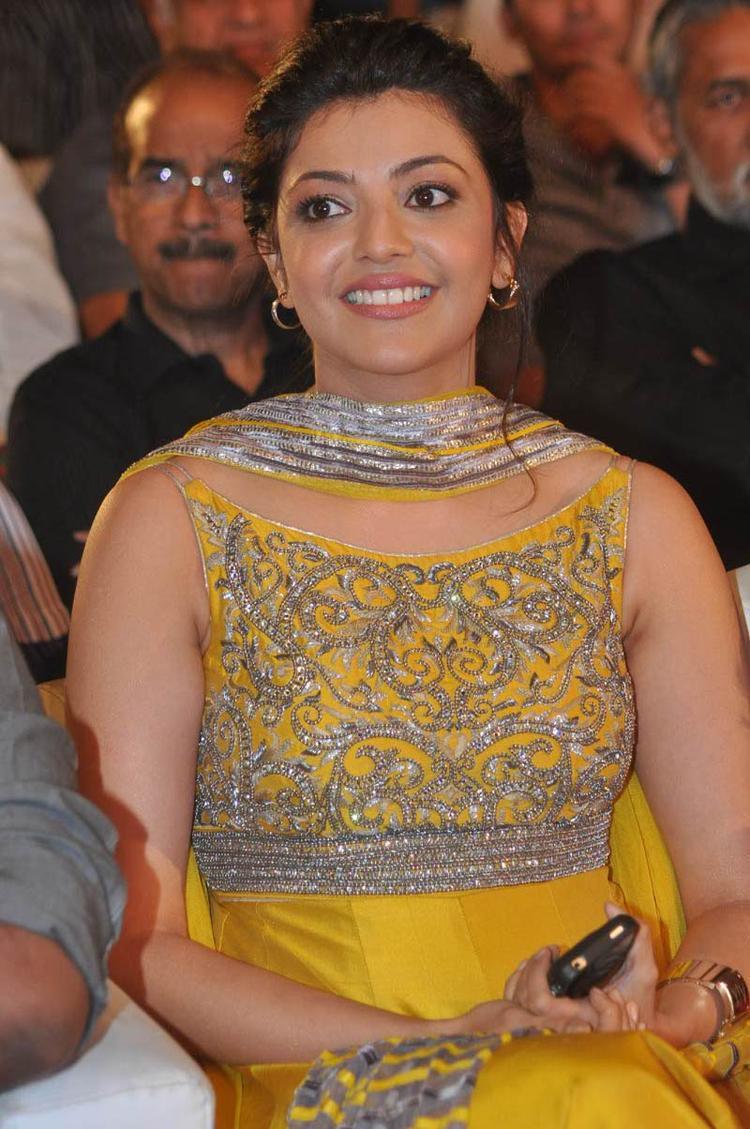 Kajal Agarwal Cute Smiling Still At Naayak Audio Release Function