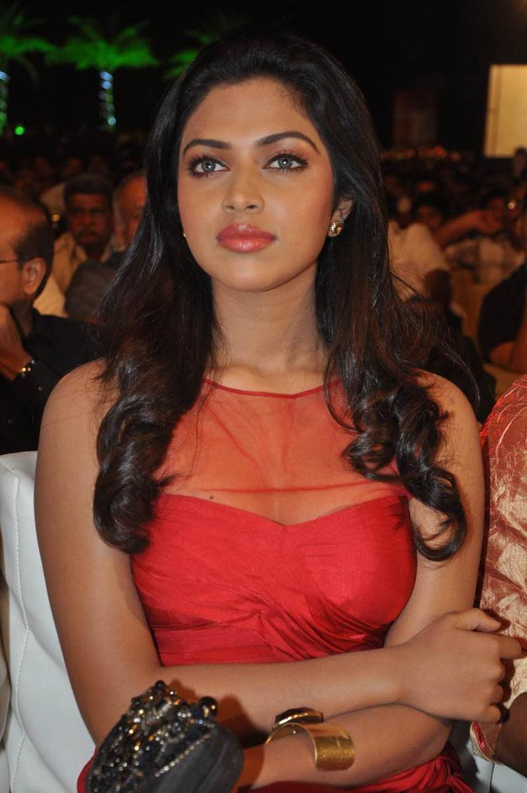 Amala Paul Looked Gorgeous In A Red Gown At Naayak Audio Release Function