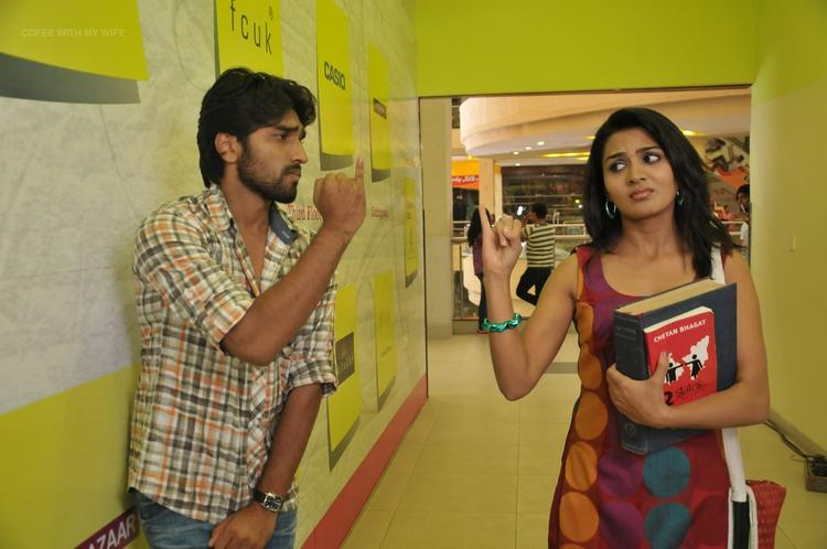 Aneesh And Sindhu Kidding Photo Still From Movie Coffee With My Wife
