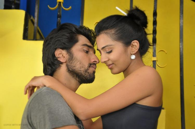Aneesh And Sindhu Romance Still From Movie Coffee With My Wife