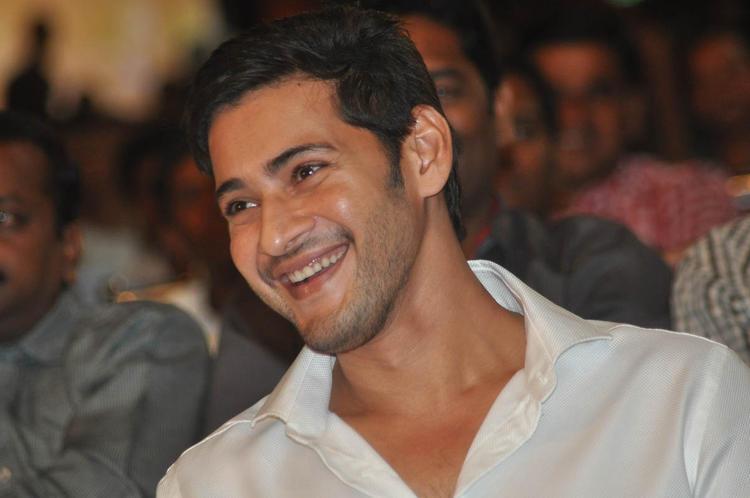 Mahesh Babu Laughing Photo Still At SVSC Audio Release Function