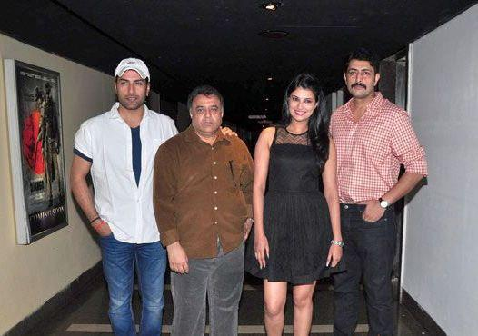 Sudhanshu,Director Ashok,Sayali And Priyanshu Posed During The First Look Launch Of Rajdhani Express