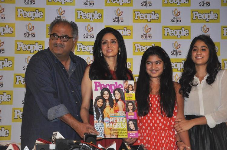 Boney With Wife Sridevi And Daughter Khushi And Jhanvi Launched The People Magazine