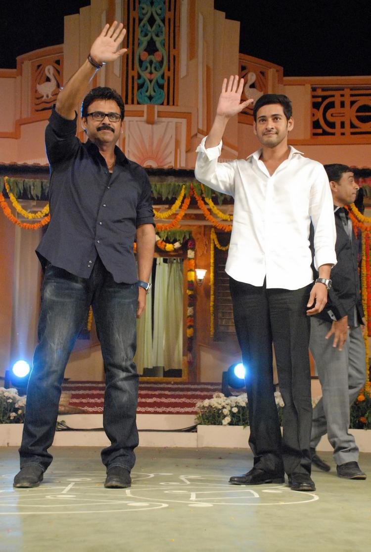Mahesh And Venkatesh Greet Their Fans At SVSC Audio Release Function