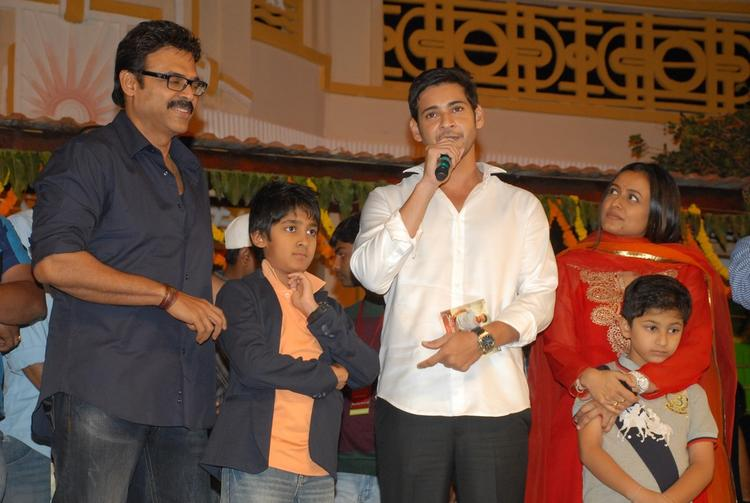 Mahesh With Wife Namrata And Son Gautam,Venkatesh With Son Arjun Posed For Camera At SVSC Audio Release Function