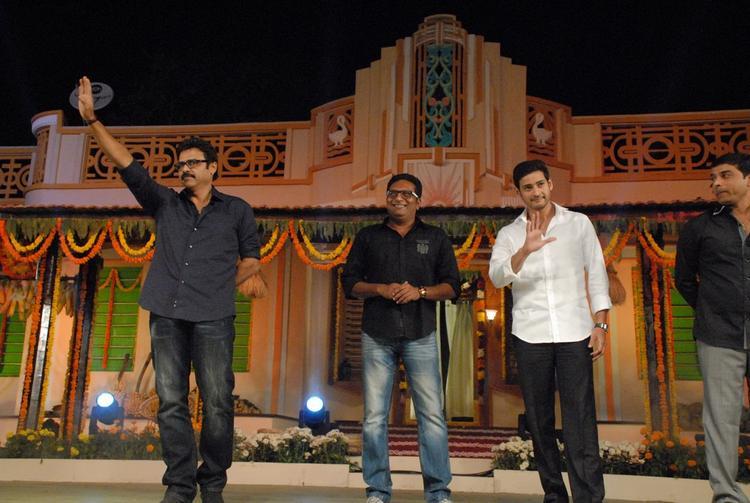 Mahesh,Venkatesh And Prakash On The Stage At SVSC Audio Release Function