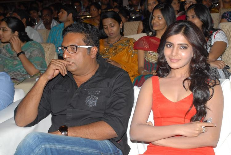 Samantha And Prakash During The SVSC Audio Release Function