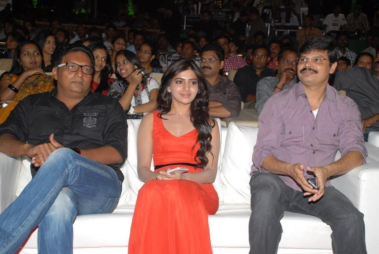 Samantha And Prakash At SVSC Audio Release Function