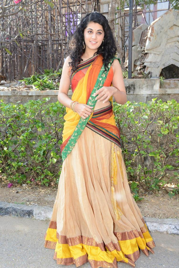 Taapsee Pannu In Saree At Muni 3 Movie Launch Event