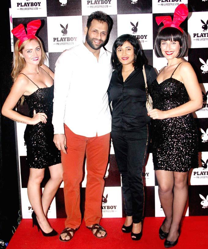 Bikram Saluja With Playmates Photo Clicked At The Playboy Bash