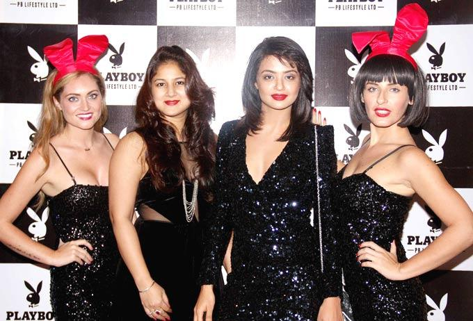 Keerti Surveen With Playmates At The Playboy Bash