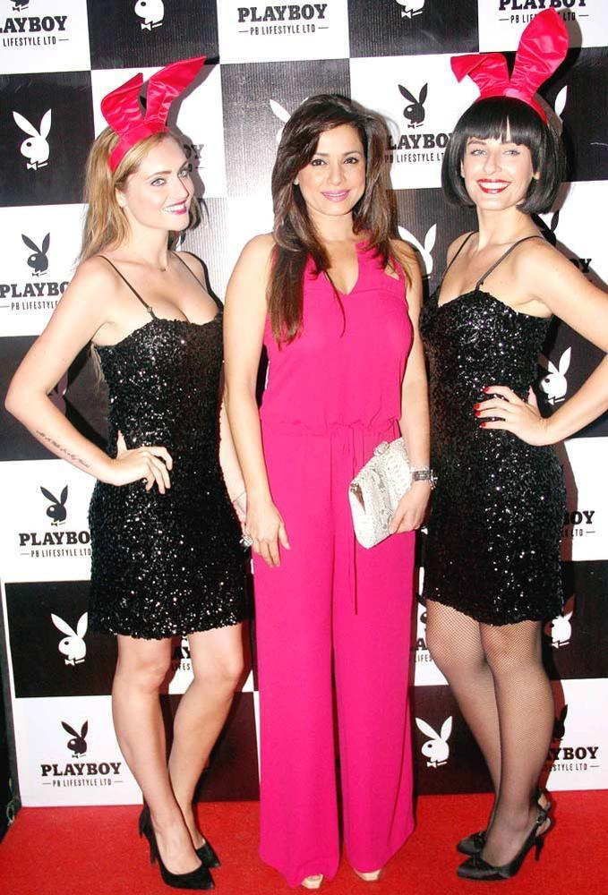 Neelam With Playmates Smiling Still At The Playboy Bash