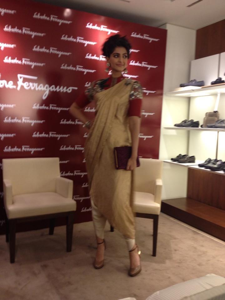Sonam Kapoor Posed For Camera At Salvatore Ferragamo Boutique
