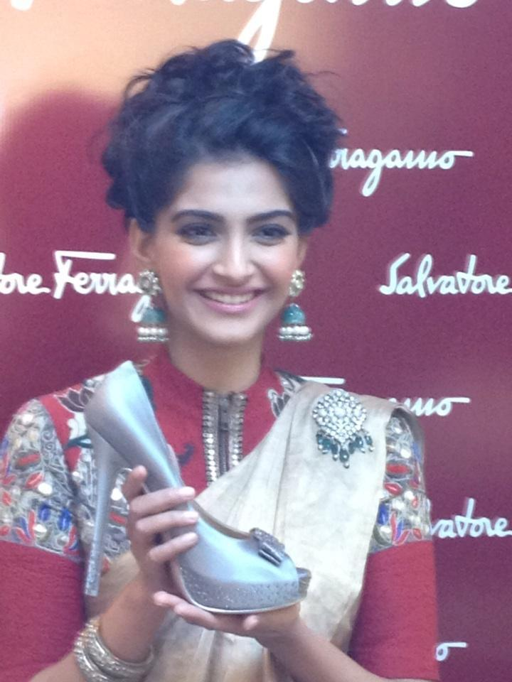 Sonam Kapoor Posed With The Silver Shoes At Salvatore Ferragamo Boutique