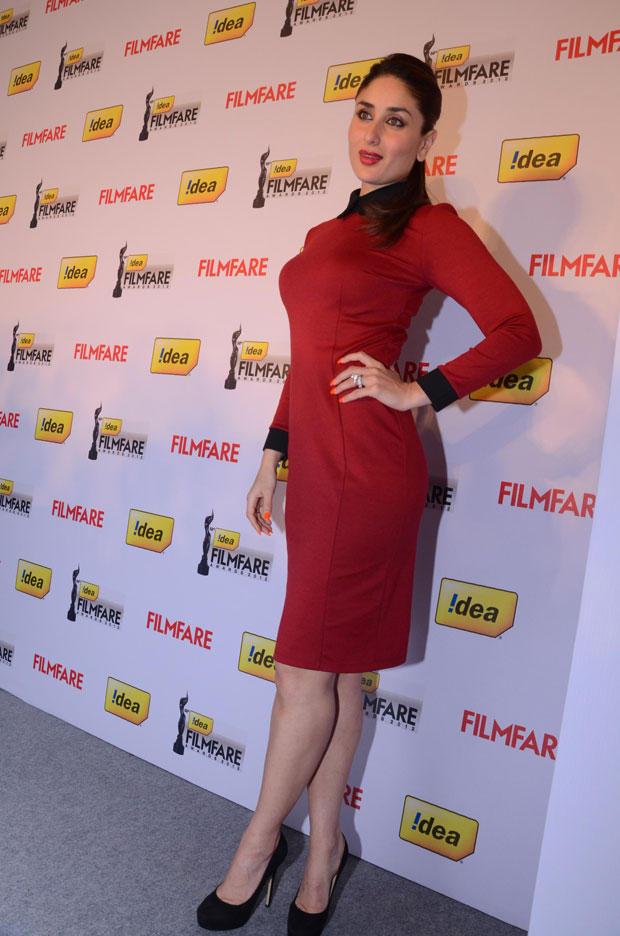 Kareena Posed For Camera In A Red Ensamble At The 58th Idea Filmfare Awards Press Meet