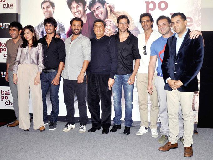 Amit,Amrita,Sushant,Abhishek,Hrithik,Arjun,Sohail,Chetan And Ronnie At The Kai Po Che Trailer Launch