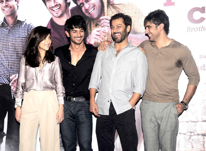 Director Abhishek Poses With Lead Actors Amrita,Sushant And Amit At Kai Po Che Movie Trailor Launch