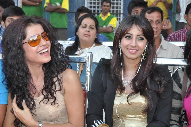 Sanjana With A Friend Smiling Still At Celebrity Cricket League