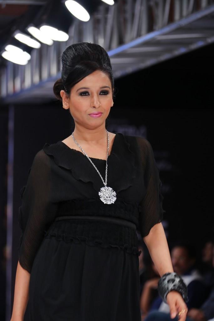 A Model In Black Dress On Ramp At Blenders Pride Hyderabad International Fashion Week